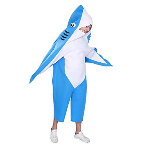 LITHAPP Disfraz De Cosplay De Gran Tiburn Blanco Azul para Adulto, Disfraz De Esponja De Una Pieza De Tiburn del Mundo Submarino