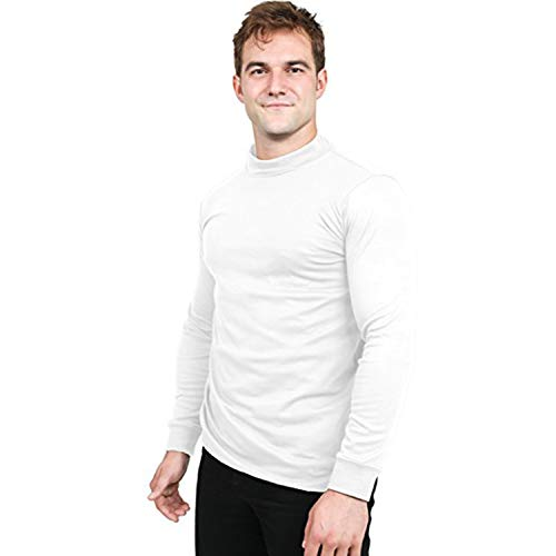 Utopia Wear Men's Cotton Blend Mock Turtleneck T-Shirt (Large, Black)
