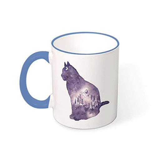O4EC2-8 Galaxy Cat Mischen Kaffee Becher Tasse mit Griff Glatte Keramik Glossy Becher Tasse - Satrry Sky Cat Freunde Geschenke, Geeignet für Kinder verwenden 11 Oz Steel Blue 330ml