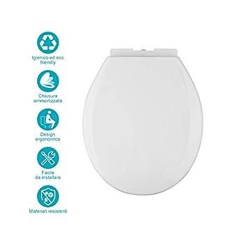 Foto di Sedile WC Universal Top Product Copriwater Universale con Chiusura Rallentata ,Tavoletta WC in Materiale di Polietilene (PP), Bianco,Facile da smontare, facile da pulire, Fissaggio Aggiustabile