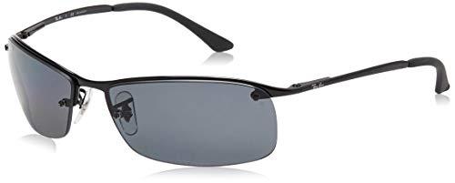 Ray-Ban RB3183 Rectangular Metal Sunglasses, Black/Polarized Grey Gradient, 63 mm