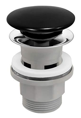 Push Open Click-Clack - Válvula de desagüe de cerámica con sistema de pulsación, color negro