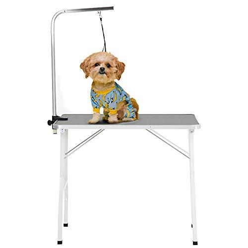 PURLOVE Haustier Hund Pflegetisch Trockentisch Trimmtisch Höhenverstellbar mit einem Arm & einem Halsband für kleine oder mittlere Hunde