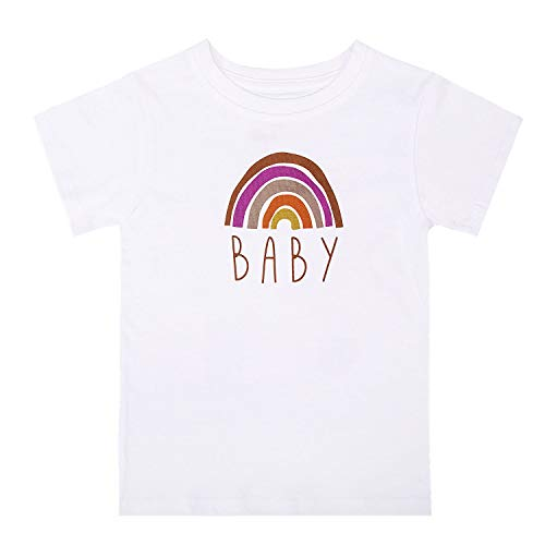 BKD Unisex Infant Shirts for Boys and Girls Rainbow Baby Outfit (Rainbow Tee Girl-1, 6-12M)