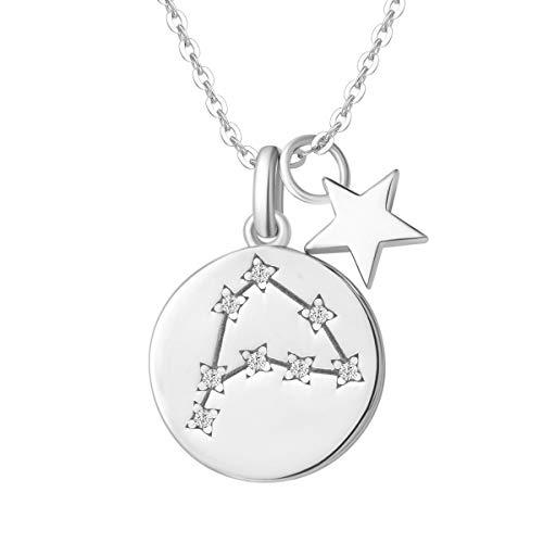 FANCIME Collar con Colgante de Signos del Zodiaco Capricornio Horoscopo Collar para Mujer de Plata de Ley 925 Chapada Oro Blanco y Circonita Cúbica - Longitud Cadena: 40 + 5 cm
