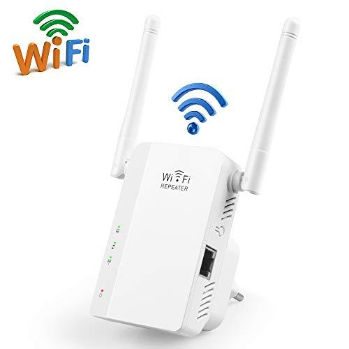 WLAN Repeater, phixilin WLAN Verstärker Wireless WiFi Range Extender 300Mbit/s 2,4GHz WiFi Signalverstärker mit Dual Antenne/LAN Port/AP Modus unterstützt WiFi Booster Kompatibel mit Allen WLAN Geräte