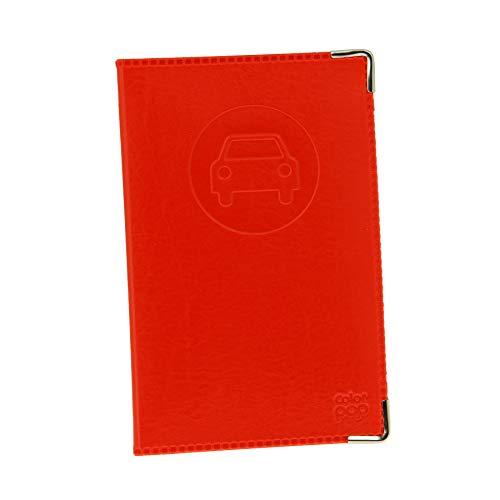 Color Pop Porte-Papiers Véhicule Coloris Rouge + Étui Transparent pour Carte Grise