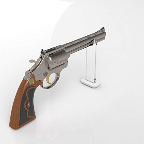 Plexico Pistol Revolver Display Stand/Clear Gun Stand with White Base (11)