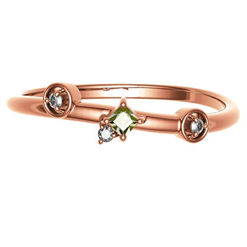 [ココカル]cococaru K18 イエローゴールド ダイヤモンド リング 0.05ct スクエアカット 指輪 3号 ピンキーリング 天然 ダイヤモンド 日本製