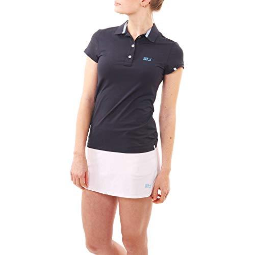 Sportkind Mädchen & Damen Tennis, Golf, Sport Poloshirt Kurzarm, UV-Schutz UPF 50+, atmungsaktiv, Navy blau, Gr. 152