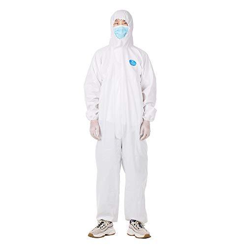 OWSOO Tuta di isolamento riutilizzabile, per prevenire l'invasione di indumenti protettivi, antipolvere, per lavori di lavoro, antistatico, per la pulizia di indumenti
