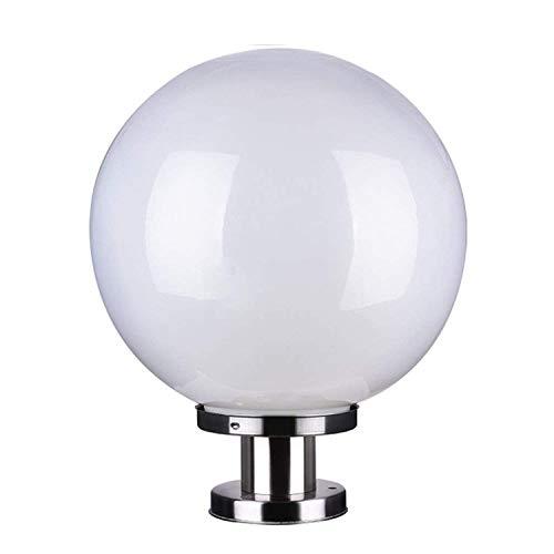 DEI QI Lampe de Colonne de Boule extérieure Lampe de Colonne Blanche en Acier Inoxydable Lampe de Jardin légère Lampe de Colonne sphérique Acrylique (Size : 20cm)
