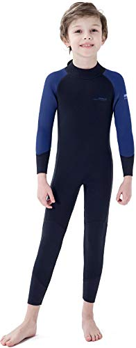 Dark Lightning 3/2mm Kids Wetsuit for Boys and Girls, Neoprene Thermal Swimsuit, Toddler/Junior/Youth One Piece Wet Suits for Scuba Diving,Blue/Size 8