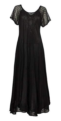 Coline Indisches trendy langes Kleid, (Schwarz, One Size)