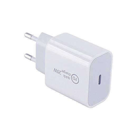 Cargador de 20 W, fuente de alimentación USB-C, cargador rápido para 12