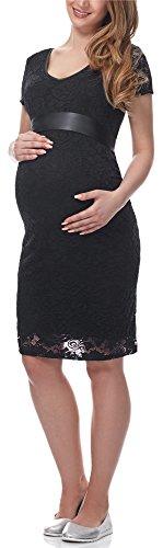 Be Mammy Damen Umstandskleid festlich aus Spitze Kurze Ärmel Maternity Schwangerschaftskleid BE20-162 (Schwarz, M)