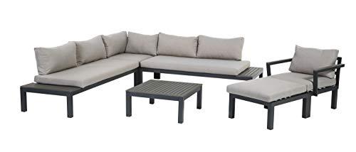 Gartenfreude Aluminium Lounge Ambience, flexibel einsetzbar mit wasserabweisenden Kissen, Dunkelgrau/Hellgrau Möbel-Set