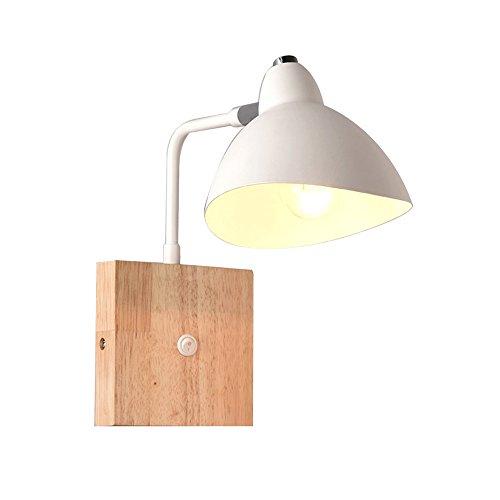 BD Led Nordic Chambre en bois massif Lampe de chevet peut être tournée Avec interrupteur Applique Applique Applique E27 Lampes et lanternes 27 * 23cm A++