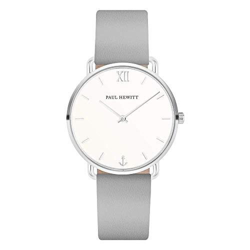 PAUL HEWITT Armbanduhr Damen Miss Ocean White Sand - Damen Uhr (Silber), Damenuhr Lederarmband in Graphite, weißes Ziffernblatt