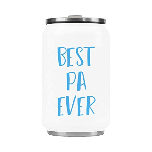 10.3 Oz Portable Coffee Mug With Straw Stainless Steel Vacuum Cup Thermos Happy Father's Day Mug - Best Pa Ever Mug Travel Watter Bottle