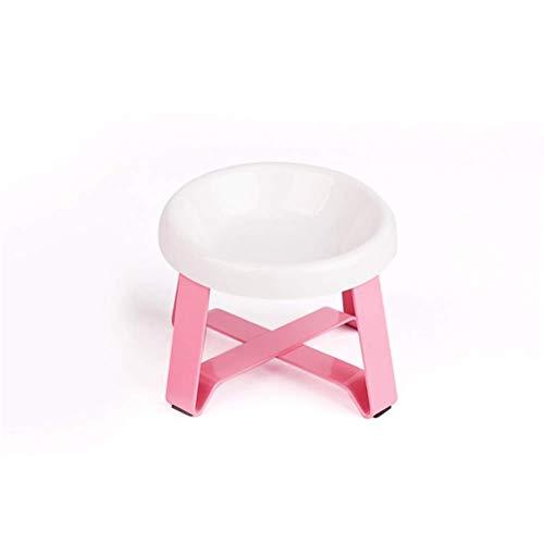Neue Keramikkatze Schüssel Welpen Lebensmittelschüssel mit Halterung Ständer Wasser Food Hundeschüssel Haustierbedarf Waschbecken Trinkrinde (Farbe: Rosa, Größe: Klein) lalay