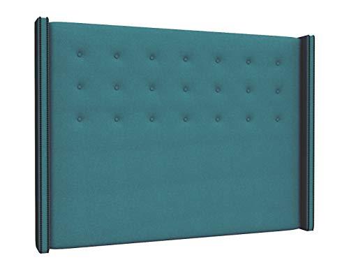LA WEB DEL COLCHON - Cabecero tapizado California para Cama de 135 (145 x 120 cms) Turquesa Textil Suave | Cama Juvenil | Cama Matrimonio | Cabezal Cama |