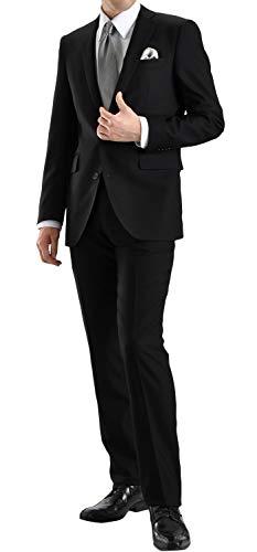 礼服 メンズ 大きいサイズ フォーマル スーツ スリムスーツ セレモニースーツ 冠婚葬祭 喪服 結婚式 黒 オールシーズン 春夏 秋冬 (大きいサイズのみウエスト調整アジャスター付) ブラック 4115Z-1-AB6