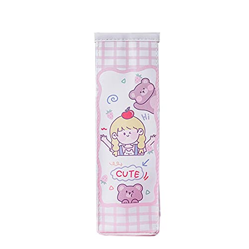 WUYUANKEI Lindo Cartoon Milk Box Pencil Case Creative Simple Large Capacity Student Stationery Box Apple Girl