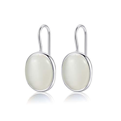 Natürliche ovale klare Mondstein Tropfen Ohrringe massiv 925 Sterling Silber Haken MetJakt Ohrring Opal für Frauen edlen Schmuck