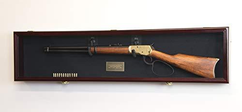 "1 Rifle Gun Display Case Cabinet Wall Rack Holder – 44.5"" Long Case - Lockable (Cherry Finish - Black Felt)"