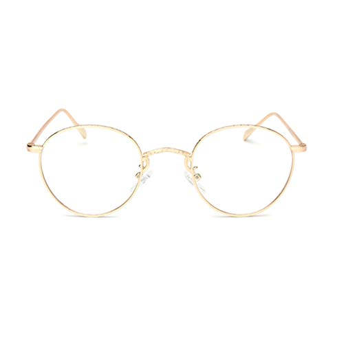 Damen Metall Frame Runde Brille Metall Klare Linse Brille Dekobrillen