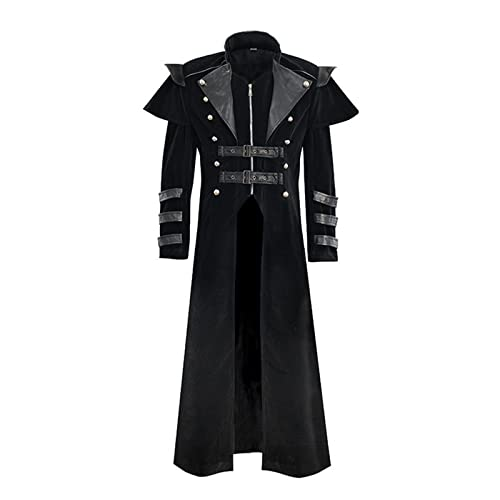 CNLINAHOME Vampire Retro Trench Coat Medieval Vintage Abrigo Zip Slit Largo Trench Coat Cos Etapa Trajes Black-XL