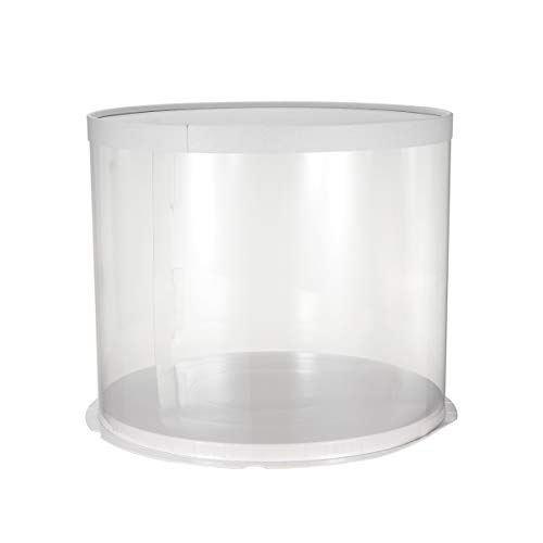 UPKOCH - Caja redonda transparente para tartas, pasteles, postres, etc., PET, White Double-layer, 10inch