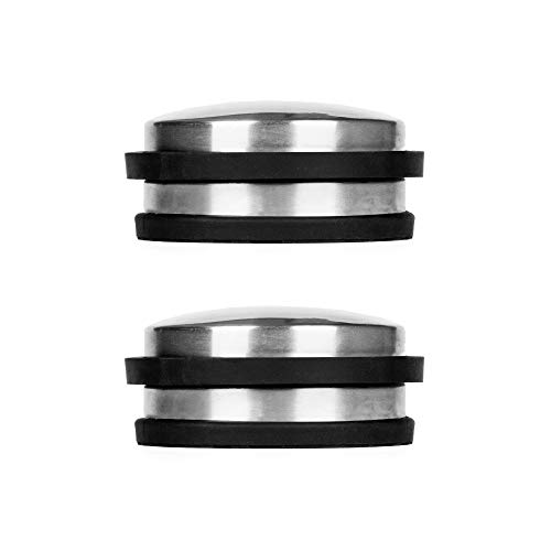 Floor Mount Door Stop - FLORA GUARD Brushed Stainless Steel Cylindrical Stopper Premium with Rubber Treads (2-Pack)