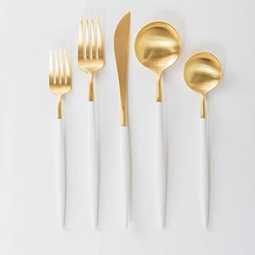 Cutipol Juego de 5 piezas GOA oro blanco | GOA BRUSHED GOLD ACERO & blanco cubertería cena/cuchillo de mesa, tenedor, cuchara de postre tenedor cuchara