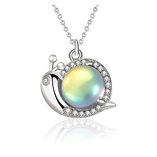 X/L Colorido personalidad Moonstone colgante collar s925 plata esterlina joyería caracol para las mujeres Aurora Moonstone colgantes joyería regalos