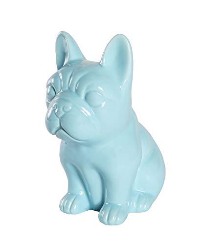 Ceramic Dog Statue - Sitting French Bulldog (Shiny Blue)