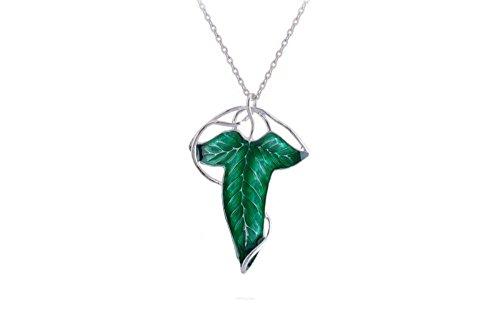 """Collier Sautoir Pendentif et Broche Revers Elven Leaf ~ Feuille de Elven """"Lord Of The Rings ~ Le Seigneur des Anneaux"""", Plaqué Argenté et émail Vert F"""