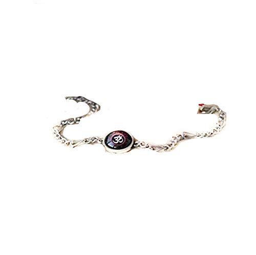 Pulsera de cuentas negra y roja, moderna, tono plateado, pulsera de cadena hecha a mano, abalorio espiritual | Hindu Jewelry
