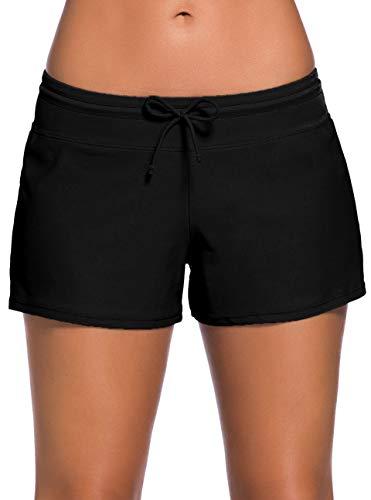 Ocean Plus Damen Unifarben Badeshorts mit Verstellbarem Tunnelzug Wassersport UV-Schutz Bikinihose Boardshorts Hotpants (XL (EU 40-42), Schwarz)