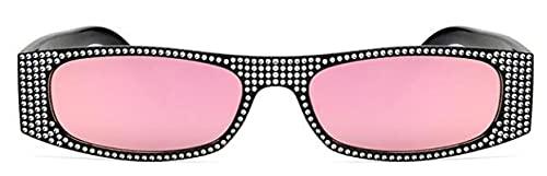 Moda Gafas De Sol Cuadradas De Diamante para Mujer, Gafas De Sol De Cristal Pequeñas para Mujer, Espejo para Mujer, Gafas De Sol Uv400, Negro Y Rosa