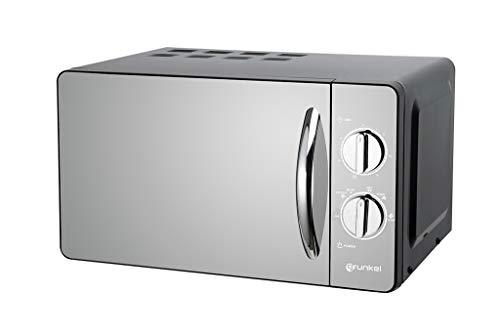 Grunkel - MW-20ESP - Microondas de 20l de capacidad con acabado en espejo y 6 niveles de potencia. Función descongelación y temporizador hasta 30 minutos - 700W - Negro espejo