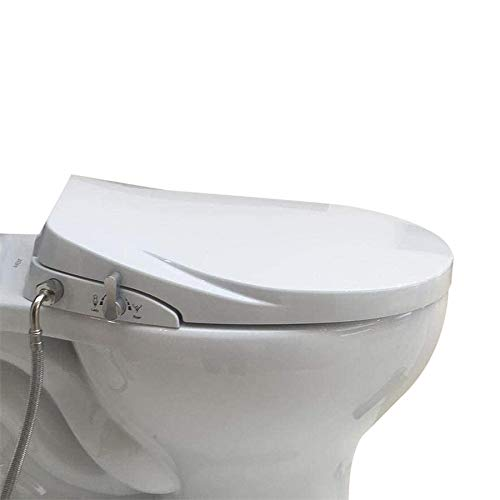 Hibbent Bidet Seat with Separated Self Clean Knob,Dual Nozzles for Rear & Feminine Spray-Non-Electric Bidet Toilet Seat Sleek Design, ON/OFF Metal T Adapter Included (Elongated-SC206)