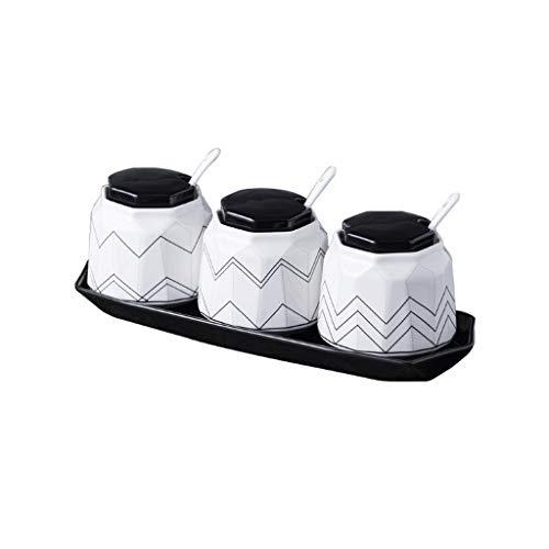 SMEJS Tarro de condimento de cerámica Traje Combinación de Suministros de Cocina Caja de condimento para el hogar Botellas de condimento Salero Traje de Tres Piezas