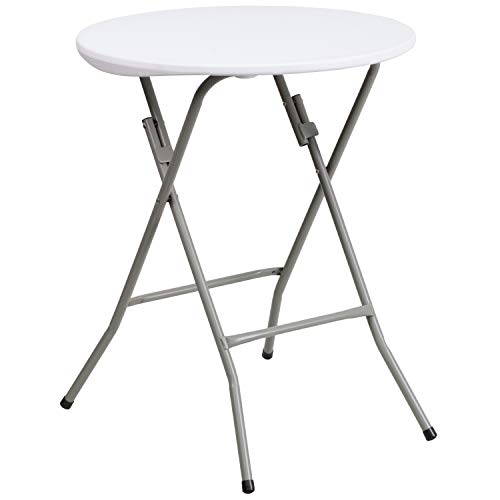 Flash Furniture 24RND 2-Foot Round Granite White Plastic Folding Table