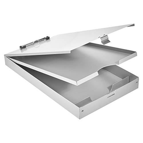 AmazonBasics Klemmbrett mit Ablage, Aluminium - 41 x 23 cm, dreistufig, flache Klemme