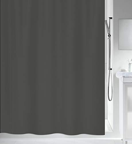 """Spirella Anti-Schimmel Duschvorhang - Anti-Bakteriell, waschbar, wasserdicht - Polyester, """"Primo """" 120x200cm Anthrazit"""