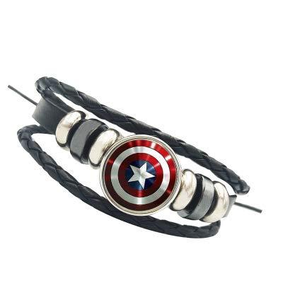 Romon Braccialetto Avengers Captain America Shield Braccialetto Bracciale Intrecciato - Gioielli Cosplay di Supereroi,B