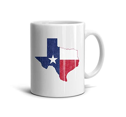DNSIFH55 White Ceramic Mug Texas Vintage Style Flag Map Daily Use 11 oz Tea Cup Used to Hold Latte Cappuccino Tea Coffee Water Drinks Milk for Son