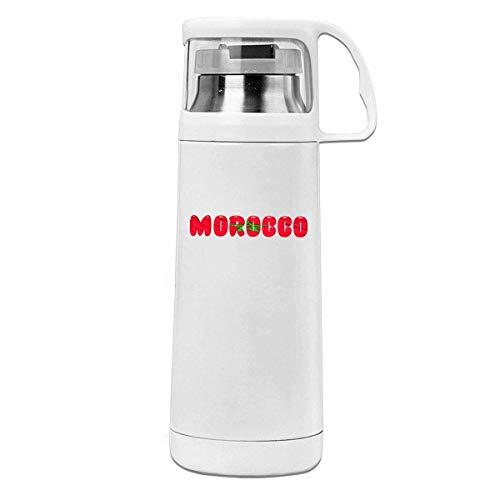 AEMAPE Taza Termo de Acero Inoxidable con Aislamiento Orgulloso de la Bandera de Marruecos, Botella de Agua portátil con asa, Taza de té al vacío, Taza de Viaje